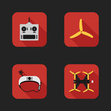 Płaskie ikony ustawiać bieżny quadrocopter Zdjęcia Stock