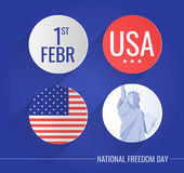 Płaskie ikony ustawiać dla Krajowego wolność dnia usa ilustracja wektor