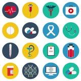 Płaskie ikony ustawiać medyczni narzędzia, opieki zdrowotnej wyposażenie, nauki badanie i zdrowia traktowania usługa, Nowożytnego Obraz Royalty Free