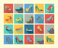 Płaskie ikony ustawiać mody obuwie Obrazy Stock