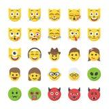 Płaskie ikony Ustawiać Smileys ilustracja wektor