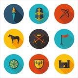 Płaskie ikony wieki średni royalty ilustracja