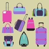 Płaskie ikony z bagażem i torbą Ilustracja Wektor