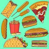 Płaskie jaskrawe wystrzał sztuki fasta food wektorowe ikony ustawiać wliczając burrito, hamburger, pizza, kanapka, taco, kukurydz royalty ilustracja