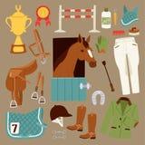 Płaskie koloru dżokeja ikony ustawiać z wyposażeniem dla końskiej jazdy odizolowywającej i podkowa comberu sporta rasy equestrian ilustracja wektor