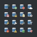 Płaskie koloru stylu bazy danych ikony ustawiać Obraz Stock