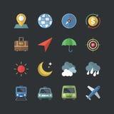 Płaskie koloru stylu biznesu & podróży ikony ustawiać Obraz Stock