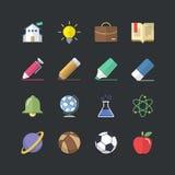 Płaskie koloru stylu edukaci i szkoły ikony ustawiać Obraz Stock