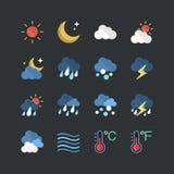 Płaskie koloru stylu prognozy pogody ikony ustawiać Zdjęcia Royalty Free