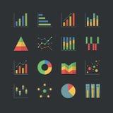 Płaskie koloru stylu wykresu i mapy ikony ustawiać Zdjęcia Stock