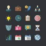 Płaskie koloru stylu zarządzania przedsiębiorstwem ikony ustawiać Obrazy Stock