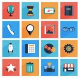 Płaskie medialne i biurowe ikony z długim cieniem, SE Obraz Stock