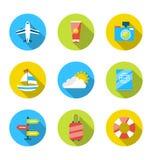 Płaskie nowożytne ustalone ikony podróżować, planuje wakacje, ilustracja wektor