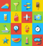 Płaskie nowożytnego projekta ustalone ikony podróż na wakacyjnej podróży Obrazy Stock