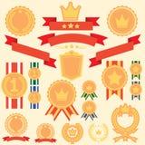 Płaskie odznak etykietki Ustawiać ilustracja wektor