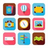Płaskie podróży i wakacje App Ciosowe ikony Ustawiać Fotografia Royalty Free