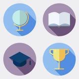 Płaskie projekt edukaci ikony z długim cieniem 1 ilustracji