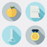 Płaskie projekt edukaci ikony z długim cieniem 2 ilustracji