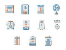 Płaskie projekt ikony dla domowego klimatycznego systemu ilustracja wektor