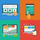 Płaskie projekt ikony dla sieci i wiszącej ozdoby apps. Obraz Royalty Free
