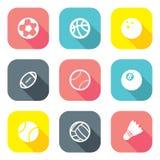 Płaskie projekt piłki ikony Zdjęcia Royalty Free