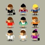 Płaskie projekta avatar app ikony ustawiają użytkowników mężczyzna kobiet ludzi Wektorowy ilustracyjny projekt Zdjęcia Stock