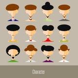 Płaskie projekta avatar app ikony ustawiają użytkownik twarzy mężczyzna ludzi Wektorowy ilustracyjny projekt Obrazy Stock