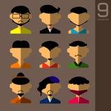 Płaskie projekta avatar app ikony ustawiają użytkownik twarzy mężczyzna ludzi Wektorowy ilustracyjny projekt Obrazy Royalty Free