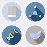 Płaskie projekta badania naukowego ikony z długim cieniem 2 royalty ilustracja