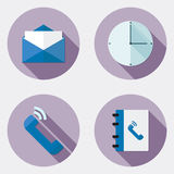 Płaskie projekta biura ikony z długim cieniem 1 ilustracja wektor