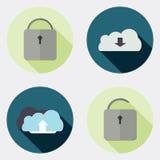 Płaskie projekta interfejsu użytkownika ikony z długim cieniem 7 ilustracja wektor