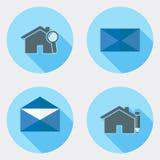 Płaskie projekta interfejsu użytkownika ikony z długim cieniem 2 ilustracja wektor