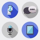 Płaskie projekta interfejsu użytkownika ikony z długim cieniem 3 ilustracji