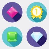 Płaskie projekta interfejsu użytkownika ikony z długim cieniem 4 Obrazy Royalty Free