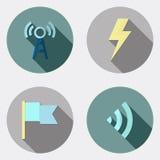 Płaskie projekta interfejsu użytkownika ikony z długim cieniem 6 ilustracja wektor