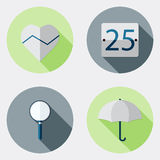 Płaskie projekta interfejsu użytkownika ikony z długim cieniem 8 Zdjęcie Royalty Free