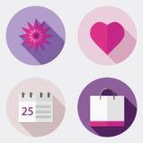 Płaskie projekta interfejsu użytkownika ikony z długim cieniem 5 ilustracji