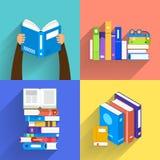 Płaskie projekta pojęcia książki Edukacja i uczenie z książki Zdjęcia Stock