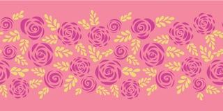 Płaskie róż i liści wektoru granicy bezszwowe menchie ilustracja wektor