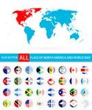 Płaskie Round flaga Północna Ameryka Uzupełniają set i Światową mapę Zdjęcia Stock
