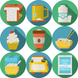 Płaskie round ikony dla dziennych produktów ilustracji
