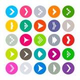 Płaskie round ikony z strzała znakami Fotografia Royalty Free