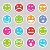 Płaskie smiley ikony Zdjęcia Stock