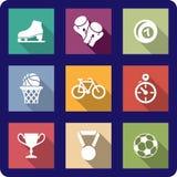 Płaskie sportowe ikony ustawiać Obrazy Royalty Free