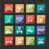 Płaskie sprawności fizycznej i zdrowie ikony ustawiać Zdjęcie Stock