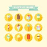 Płaskie wektorowe ikony ustawiać lody i popsicles Zdjęcie Stock