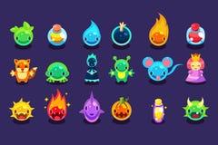 Płaskie wektorowe wartości dla mobilnej gry z śmiesznymi istotami i przedmiotami Obcy, ryba, mysz, lis, kumak, princess, bomba royalty ilustracja