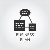 Płaskiego czerni ikony plan biznesowy, algorytm akcja, plan lista ilustracji
