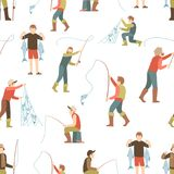 Płaskiego fisher mężczyzna bezszwowy wzór Połowu tło z postać z kreskówki ludźmi royalty ilustracja