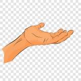 Płaskiego koloru gesta Szkicowa ręka, Otrzymywa Coś lub Błaga, przy Przejrzystym skutka tłem royalty ilustracja